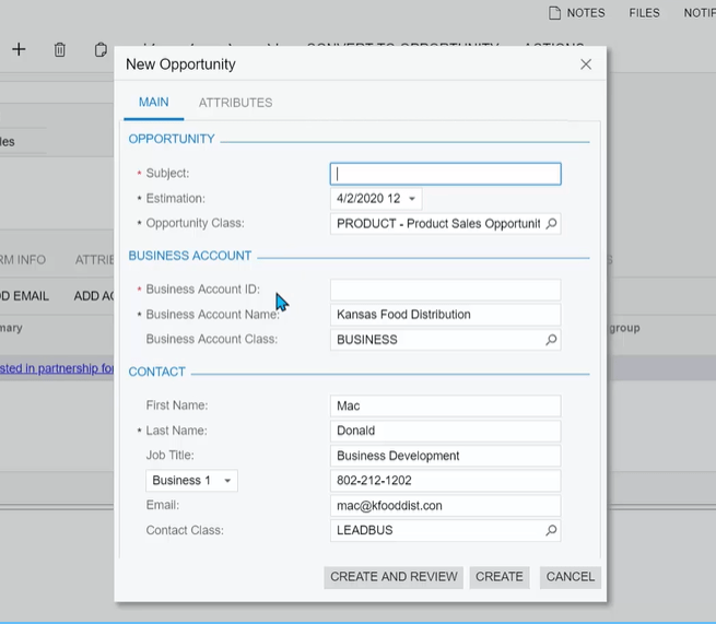 Acumatica CRM Lead Conversion Functionality