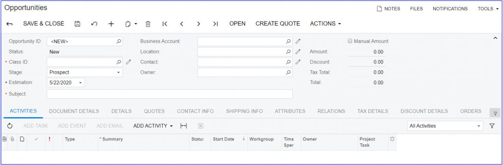 Acumatica CRM Opportunities Screen