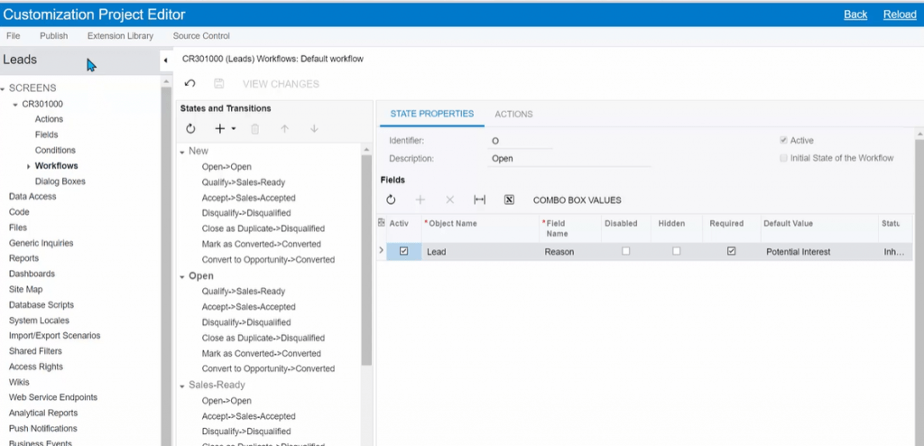 Acumatica Workflow Customization Screen