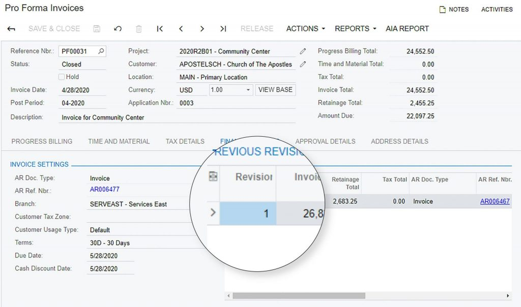 Pro Forma Invoice Revisions