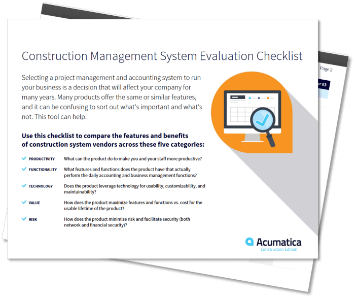 Acumatica Construction Evaluation Checklist Cover