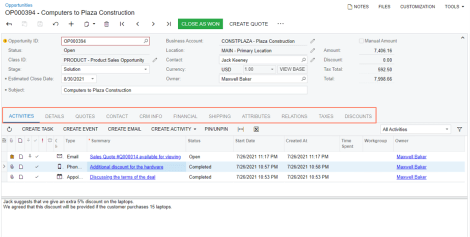 acumatica crm quote workflow