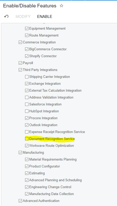 Enable Acumatica AP Document Recognition Feature