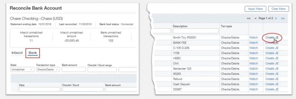 Sage Intacct Bank Reconciliation