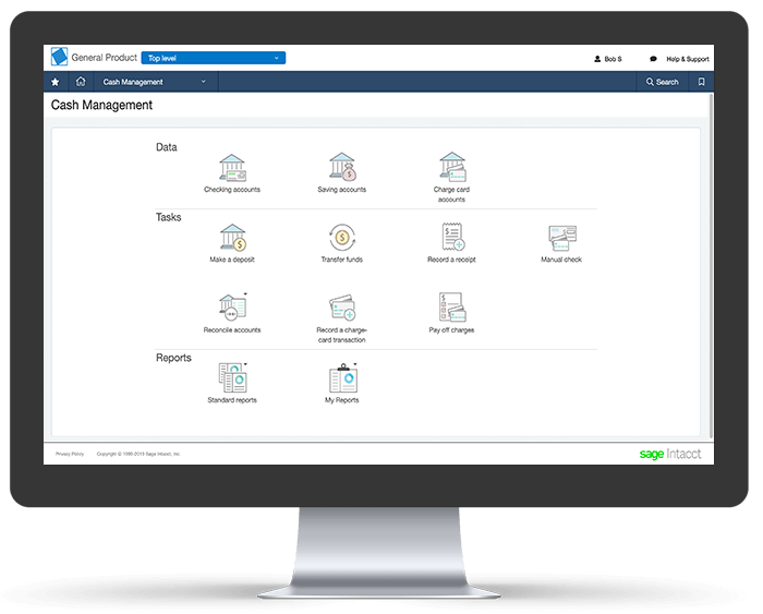 Intacct Cash Management Screen